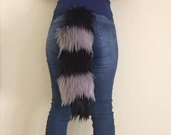 """Bianna Luxury Black and Gray Faux Fur Striped Cheshire Tail, 20"""" Kawaii Cosplay Anime Convention Rave Party DressUp Costume Gear Furry Fuzzy"""