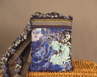 Small K.I.S.S Wallet on a String (Blue floral)