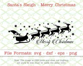 SANTA SVG, Dxf, Eps, Png. Santa's Sleigh Svg, Merry Christmas Avg Files for Cricut & Silhouette;Reindeer Svg, Christmas SVG, Holiday Clipart