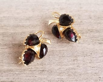 Rose cut garnet and seed pearl earrings in 14k yellow gold