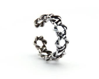 Thick Braided Ring/Sterling Silver Ring/Braided Stack Ring/Stack Twisted Ring Simple/Rope Ring Twisted/Opened Stacking Ring/Braid Ring