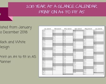 2018 Dated Year at a Glance Calendar on 2 Pages Printable Planner, Print on A4 to fit A5 Planner, {Digital Download}