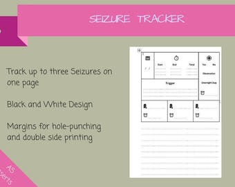 Seizure Tracker, Seizure Log, Seizure Diary, Seizures, Epilepsy Log, Epilepsy Tracker, Epilepsy Diary, Epilepsy { Instant Download }