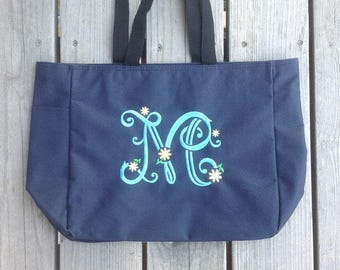 Monogrammed canvas tote bag, bridesmaids totes, group gift bags, Beach bag tote, personalized tote bags, carry all bag,  tote bag