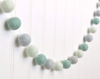 Boy Baby Shower Decorations, Mint and Gray Nursery Decor, Mint Nursery Garland, Blue and Gray Felt Ball Garland, Boy Nursery Decor, Pom Pom