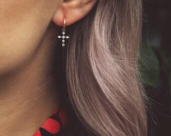 AZLIN. Gold Cubic Zirconia Cross Hoop Earrings