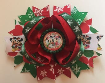 SALE Mickey and Minnie Snow Christmas 5inch Bow