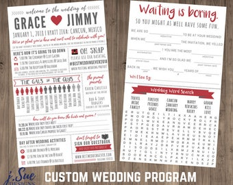 Fun Infographic Wedding Program Games Activities Word Search Custom Mad Lib