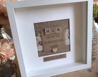 Mum like a button personalised hessian quote frame mothers day frame