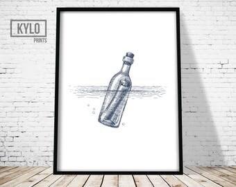 Nautical Illustration, Nautical Wall Art, Nautical Print, Sailing Print, Nautical Poster, Message in a bottle Print, Sailing Art, Sea Print