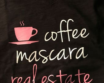 coffee mascara real estate v neck