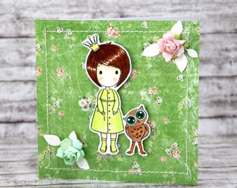 Card with girl in green dress and her owl