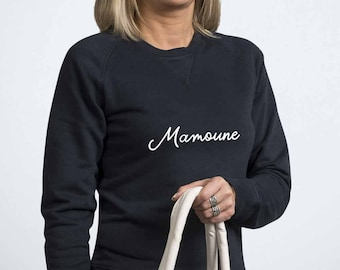 Sweatshirt in organic cotton personalized with a word or name - Christmas gift - gift for Grandma, MOM, aunt, sister, godmother