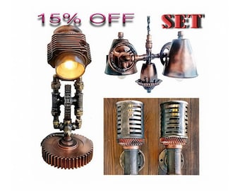rustic table lamps steampunk industrial lamp steampunk lamps wall lamp vintage industrial chandelier vintage industrial lamp - Rustic Table Lamps