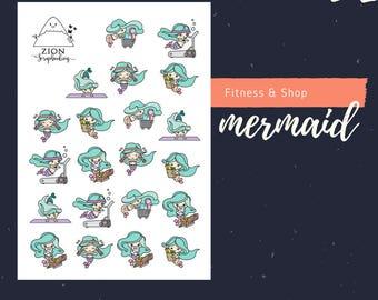 Cute Fitness Mermaid Sticker Planner | Happy Planner | Stickers Planner