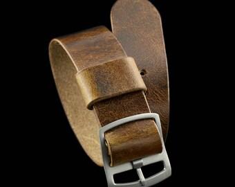 Handmade Military 102 Leather One Piece Watch Strap (Perlon Style), Italian Veg Tanned