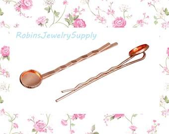 5 Pieces - Rose Gold - Bobby Pins - Hair Pins - Hair Clips - Cabochon Bobby Pins - Cabochon Settings - Hair Accessories - Cabochons - F0097