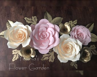 Pink and Cream Paper Flowers