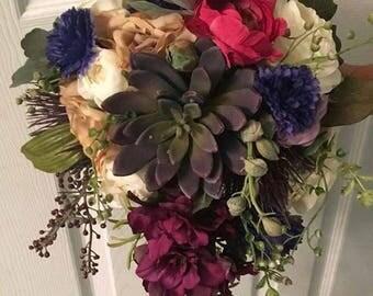 Succulent cascading bridal bouquet