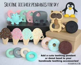 Silicone Teether Pendants for DIY Handcrafted Teething Accessories Toys Chew Ice cream Donut Elephant Cookie Raccoon Dinosaur Biscuit Rings