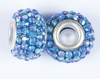 2 European o15 with crystals blue iridescent beads