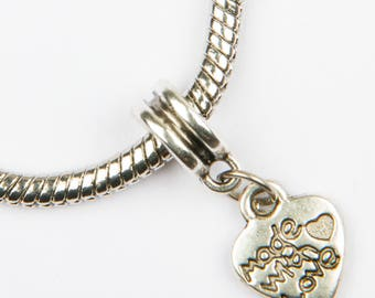 "5 ""made with love"" silver charms"