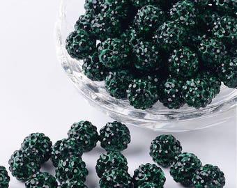 Shamballa 10mm grade A emerald green beads