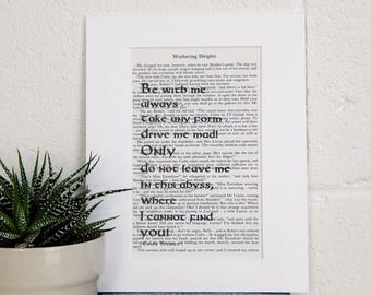 Dramatic Wuthering Heights Vintage Book Quote - Emily Bronte Literary Print - Romantic Gothic Novel Wall Art