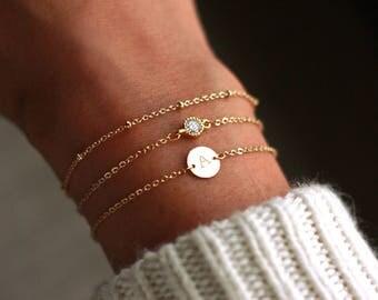 Dainty Initial Disk Bracelet   Dainty Personalized Disk Bracelet   Personalized Disk Bracelet SET   LAYERED Bracelet SET   Initial Bracelet