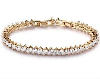 FREESIA - Gold and Crystal Wedding Bridal Bracelet
