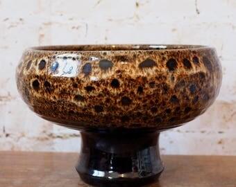 Unusual 1960's Brown Glazed Ceramic Lava Bowl