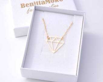 Diamond shaped pendant, gold diamond necklace, geometric necklace, triangle necklace, gold necklace, unique necklace,gift for her,minimalist