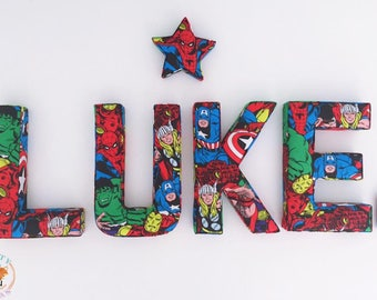 Superhero Fabric Letters, Wall Art, Nursery, Childrens Bedroom, Boys, Girls Personalised fabric letters