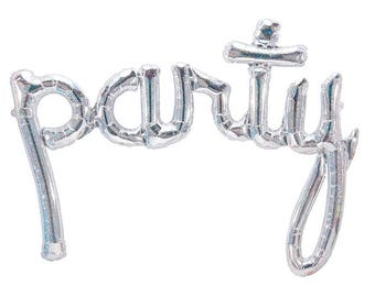 PARTY Silver Holographic Script Banner Foil Balloon (Air-Fill)