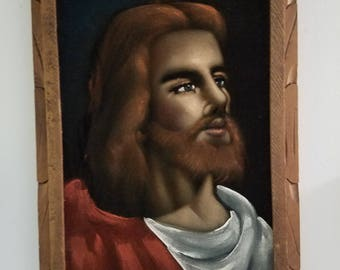 Vintage Velvet Jesus painting with carved wooden frame