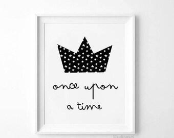 Once Upon a Time, SALE Printable, Nursery Wall Art, Nursery Printable, Woodland Nursery, Nursery Decor, Baby boy nursery, Baby Girl Nursery
