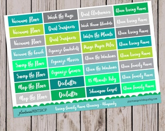Living Room Cleaning, Family Room, Scripty Sayings, 6 Palettes, Planner Stickers, Zone Cleaning, for use with Erin Condren and Happy Planner