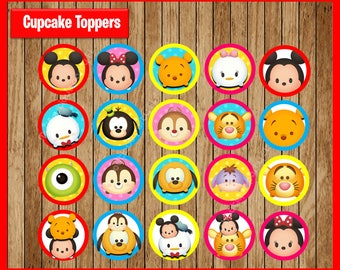 Tsum Tsum Toppers instant download, Printable Tsum Tsum party cupcakes Toppers, Tsum Tsum cupcakes toppers