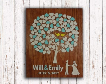 Guest Book Wedding Alternative Rustic Guestbook Wedding Gift Guestbook custom guest book wood 3d Guestbook
