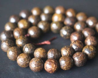 128 Faceted Bronzite Beads,6mm/8mm/10mm/12mm Faceted Round Beads Supply,15 inches one starand