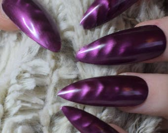 Pink Magnetic Fake Nails, Extra Long Stiletto False Nails, Hand Painted Press On Glue On Nails, Extra Long Nails, Nail Designs, 20 Nail