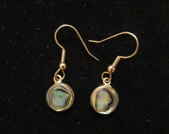 Abalone Shell Sterling Silver Dangle Earring - Vintage - Alpaca Mexico