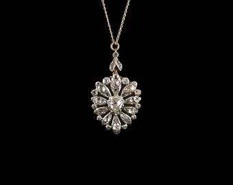 Antique 18ct White Gold and Diamond Heart Pendant