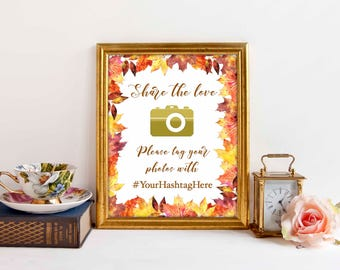 Share the Love Baby Shower Signs, Autumn Leaves, Orange Brown Maple Leaves,, Social Media sign, Hashtag sign, Editable PDF, Printable
