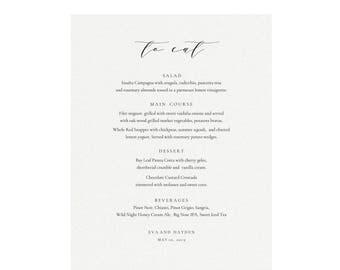 Melia: Printable 11x14 Dinner Menu Sign Template, Calligraphy Wedding Menu, Minimalist Menu, Simply Editable PDF Instant Download