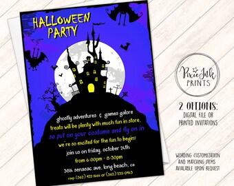 Halloween Party Invitation, Halloween Birthday Party Invitation, Haunted House Invite, Blue Halloween Invite, Costume Party Invitation