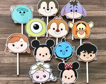 TSUM TSUM Cupcake Toppers / Cake Toppers / Die Cuts / Birthday Party / Decorations / Cake Pops / Supplies / Decor