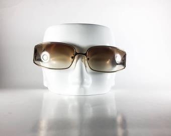 CELINE Vintage Sunglasses Silver Metal Plastic Wrap 2000 CELS52O-1