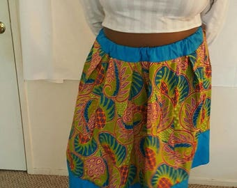 Blue/Green Print A-Line Skirt