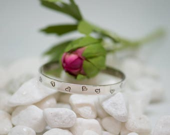 Sterling silver cuff, bracelet with hearts for that special girl